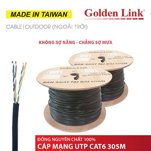 CÁP MẠNG GOLDEN LINK - 305m UTP CAT6 ngoài trời đồng nguyên chất MADE IN TAIWAN