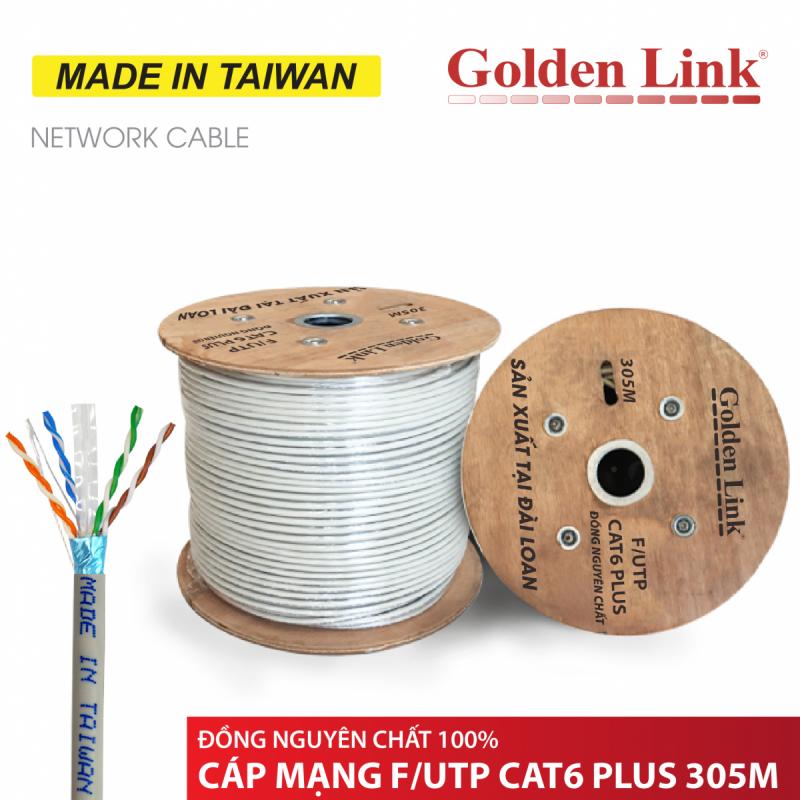 CÁP MẠNG GOLDEN LINK - 305m CAT6 F/UTP PLUS ĐỒNG NGUYÊN CHẤT(màu trắng xám, 305m) MADE IN TAIWAN