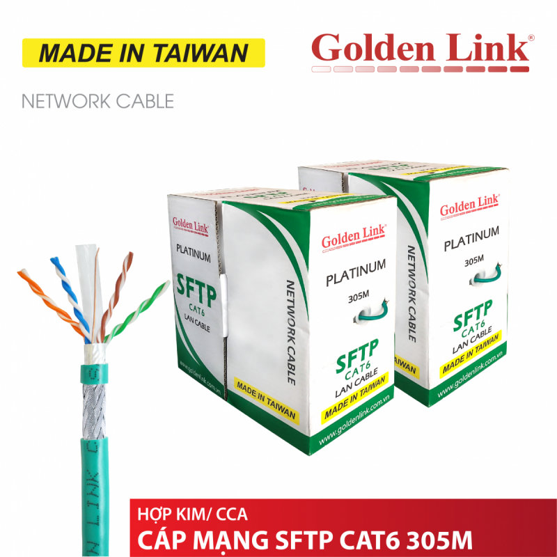 CABLE MẠNG GOLDEN LINK SFTP Cat6 305m(Xanh lá) MADE IN TAIWAN