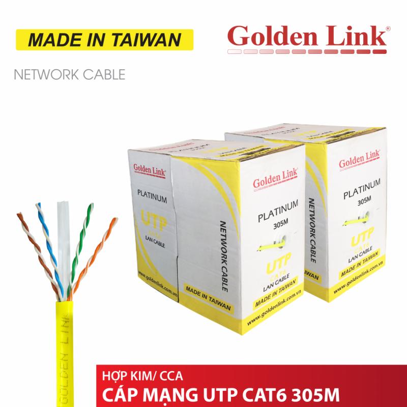 CÁP MẠNG GOLDEN LINK -  4 pair UTP CAT6 305m  vàng MADE IN TAIWAN