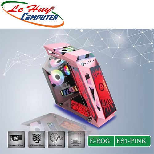 Vỏ máy tính VSP E-ROG ES1 Pink Gaming (No FAN)