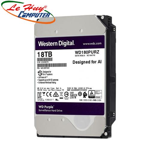 Ổ Cứng HDD Western Purple 18TB 3.5 inch, 7200RPM, SATA3, 512MB Cache (WD180PURZ)